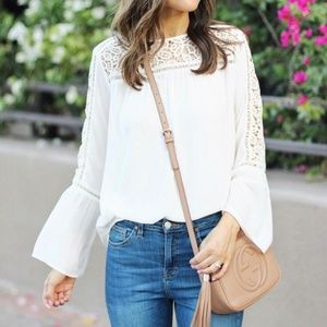 LOFT Off-White Lace Sleeves Top